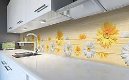 Виниловый 3Д кухонный фартук Веселые Герберы самоклеющаяся пленка ПВХ скинали Цветы Желтый 600*2500 мм