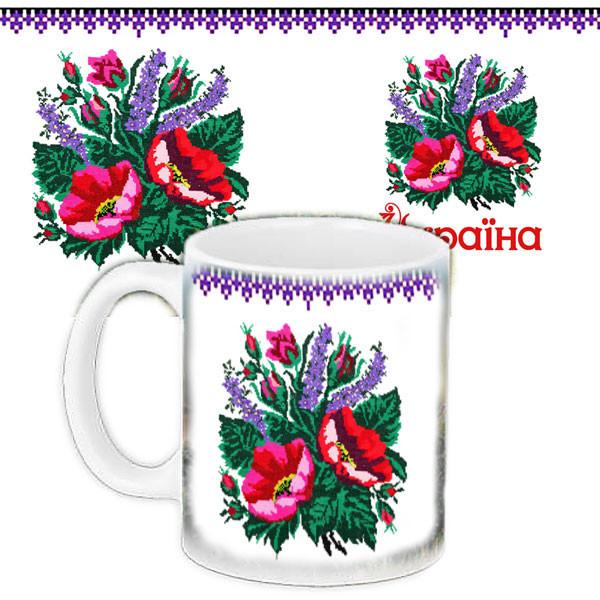 Чашка Moderika белая с рисунком Мальва Украина (33040)