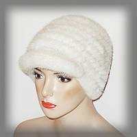 Меховая шапка из вязанной норки (белая)