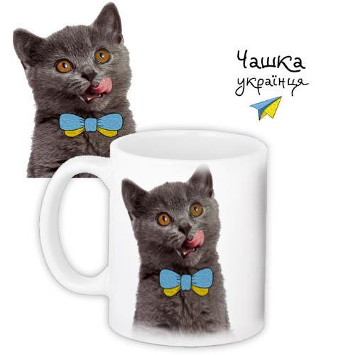 Чашка Moderika белая с рисунком Котенок с бантиком (33063)