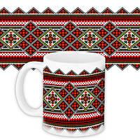 Чашка Moderika белая с рисунком Вышиванка с узорами (33081)