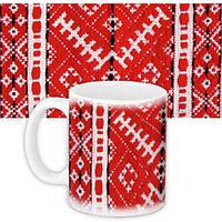 Чашка Moderika белая с рисунком Вышивка красная (33083)