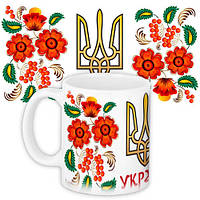 Чашка Moderika белая с рисунком Калина Украина (33085)