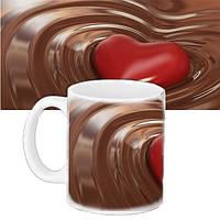 Чашка Moderika белая с рисунком Сердце в шоколаде (33129)
