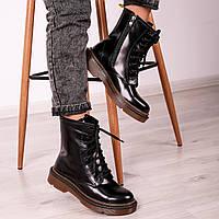 Ботинки женские мартинс лаковые кожаные