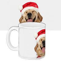 Чашка Moderika белая с рисунком Новый год Собака в шапке (33375)