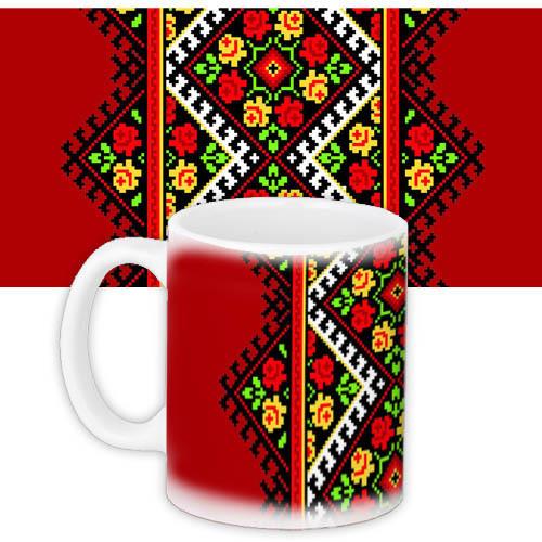 Чашка Moderika белая с рисунком Украинский орнамент (33401)