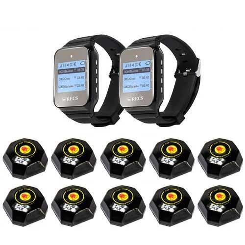 Система вызова официанта RECS №85 | кнопки вызова официанта 10 шт + 2 пейджера официанта