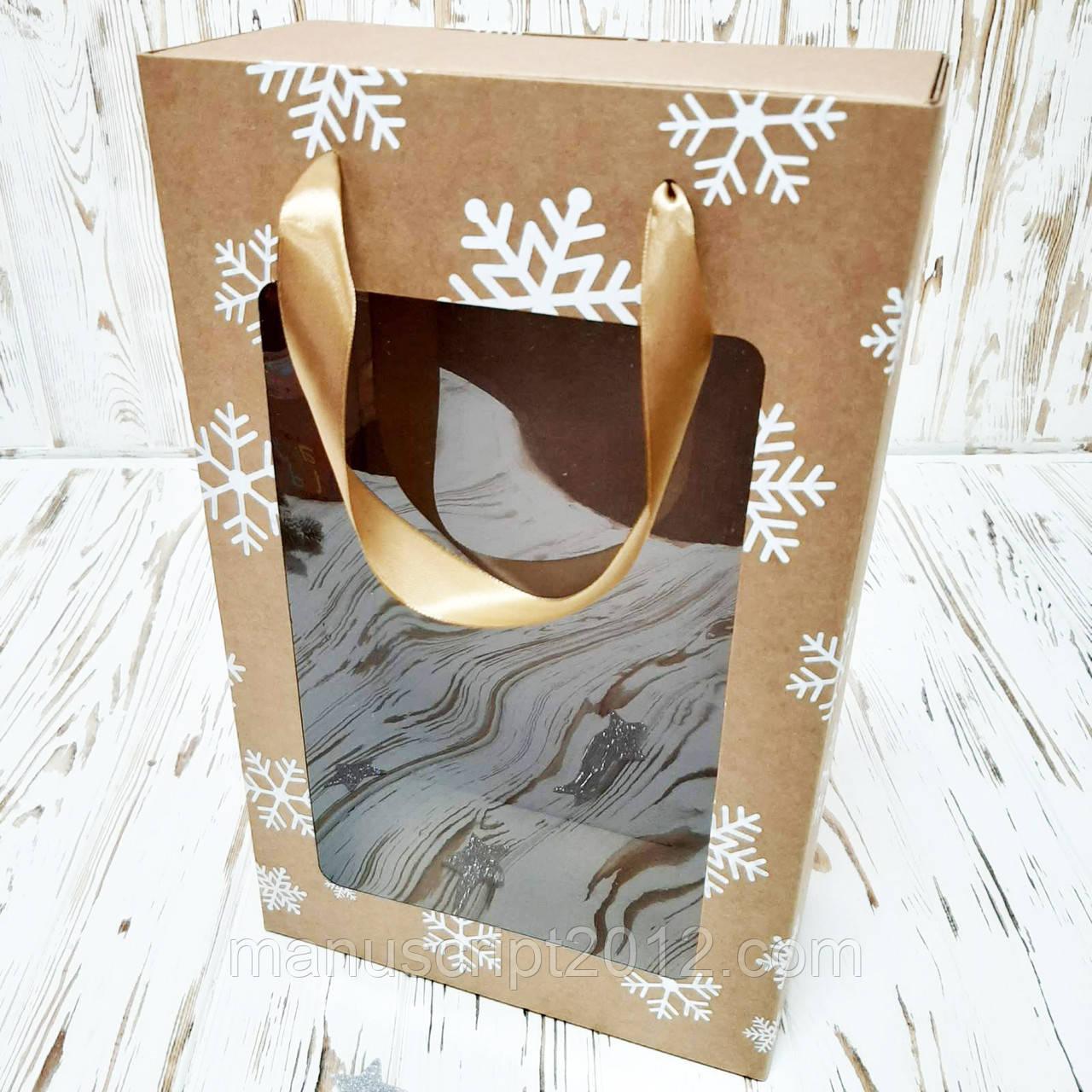 Коробка подарункова новорічна 350х210х100 мм. з пакетом