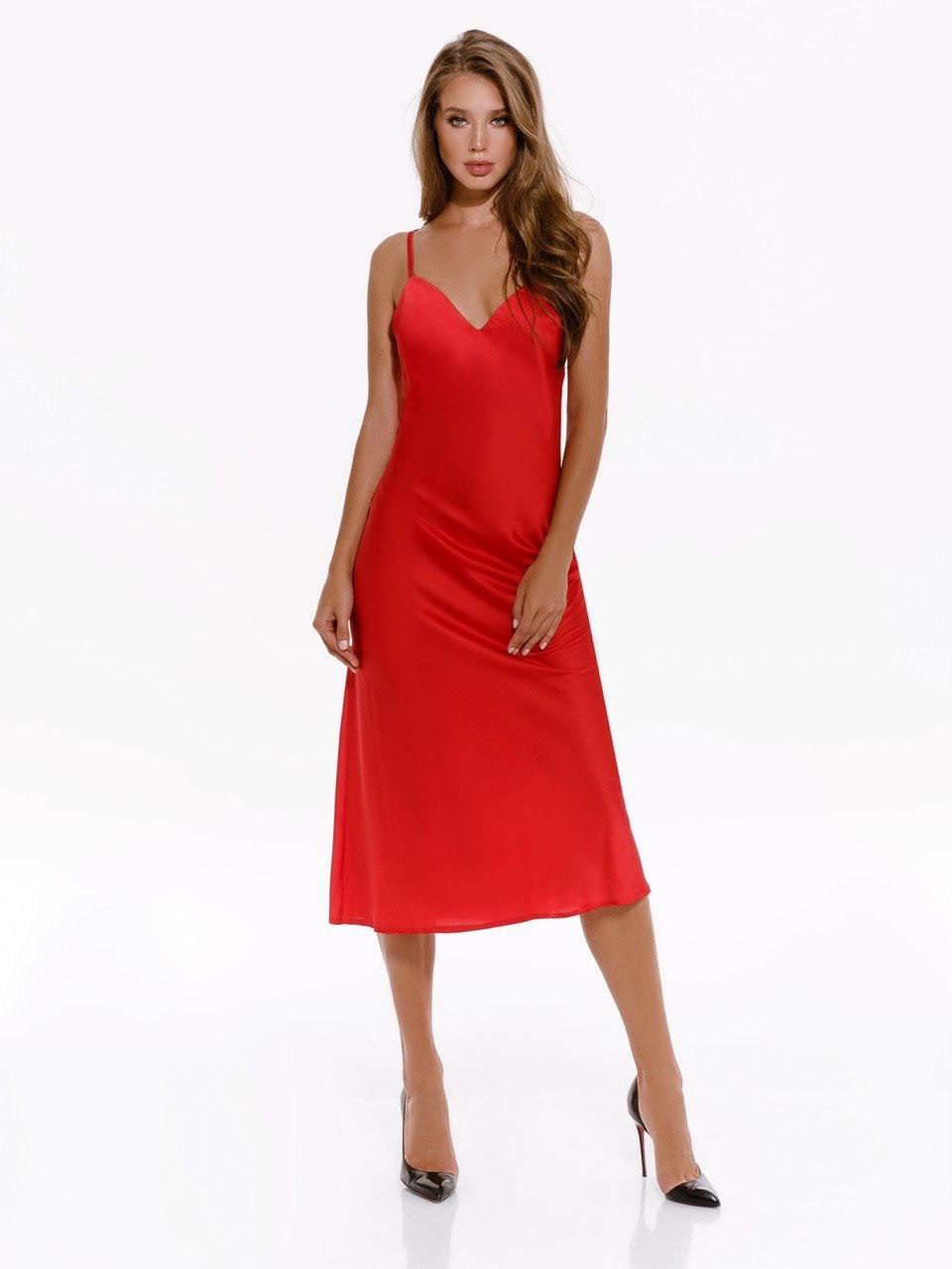 Сукня комбінація жіноче на бретелях AniTi 123, червоний