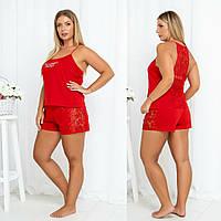 Жіноча стильна трикотажна піжама з мереживом Норма