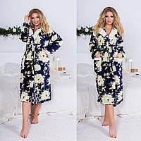 Жіночий стильний довгий халат з квітковим малюнком, фото 1