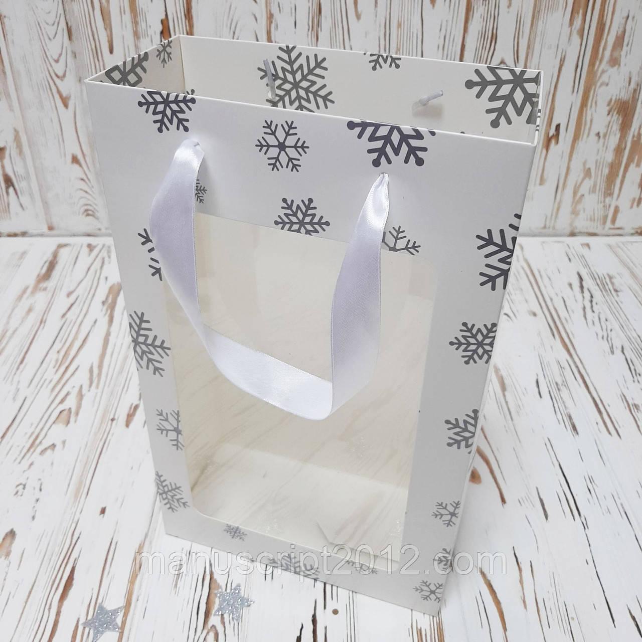 Новорічний подарунковий Пакет білий 350х210х100 мм.