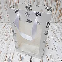 Новорічний подарунковий Пакет білий 350х210х100 мм., фото 1