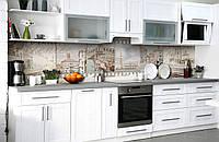 Виниловый 3Д кухонный фартук Венеция белые дома (самоклеющаяся пленка ПВХ скинали) Архитектура Бежевый 600*2500 мм, фото 1
