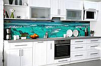 Виниловый 3Д кухонный фартук Акула у берега (самоклеющаяся пленка ПВХ скинали) рыбы подводный мир Море Голубой 600*2500 мм, фото 1