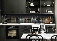 Виниловый 3Д кухонный фартук Отражение огней (самоклеющаяся пленка ПВХ скинали) ночной город Черный 600*2500 мм, фото 1