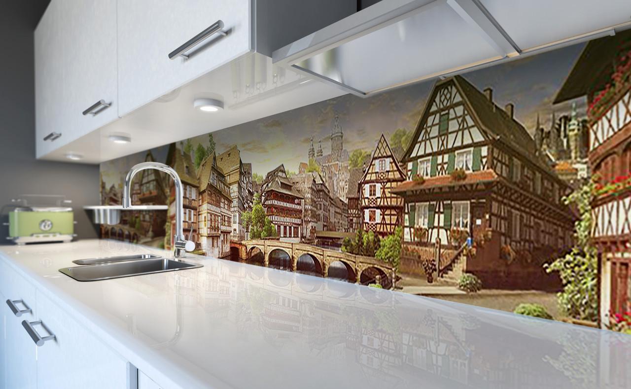 Виниловый 3Д кухонный фартук Старинная Европа (самоклеющаяся пленка ПВХ скинали) дома Архитектура Бежевый 600*2500 мм