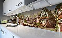Виниловый 3Д кухонный фартук Старинная Европа (самоклеющаяся пленка ПВХ скинали) дома Архитектура Бежевый 600*2500 мм, фото 1