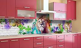 Виниловый 3Д кухонный фартук Радужный лев самоклеющаяся пленка ПВХ скинали кирпичная кладка Животные Серый