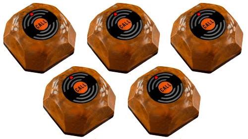 Фото: кнопки виклику офіціанта HCM-110 Wood - 5 штук - комплект системи виклику RECS №37