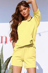 Літній спортивний костюм з шортами жовтий