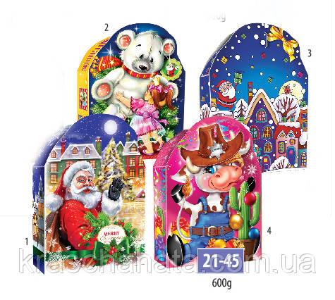 Новогодняя коробка, Белый мишка, Шериф, 600 гр, Картонная упаковка для конфет