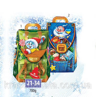 Картонная новогодняя  коробка, Новогодний  рюкзачок, 700 гр