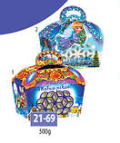 Новогодняя коробка, Сундук с ручкой, 500 гр, Картонная упаковка для конфет, фото 2