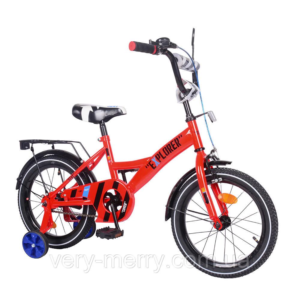 """Велосипед двухколесный Explorer 16"""" (красный цвет) со страховочными колесами"""