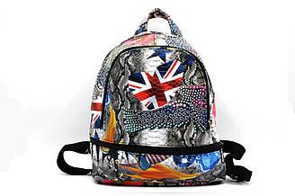 Молодежный яркий рюкзак среднего размера из мягкого кож-зама.