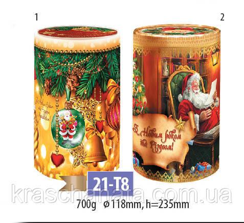 Новогодняя картонная упаковка, картонный тубус, 23,5х12 см, 700 грамм