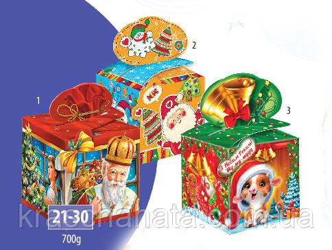 Коробка подарункова, Веселий сніговик, Картонна упаковка для цукерок, 700 грам