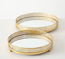 Набор 2-х подносов металл золото Гранд Презент 1015850