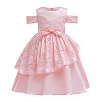 Шикарное пышное детское нарядное платье на утренник, на праздник розовое пудра