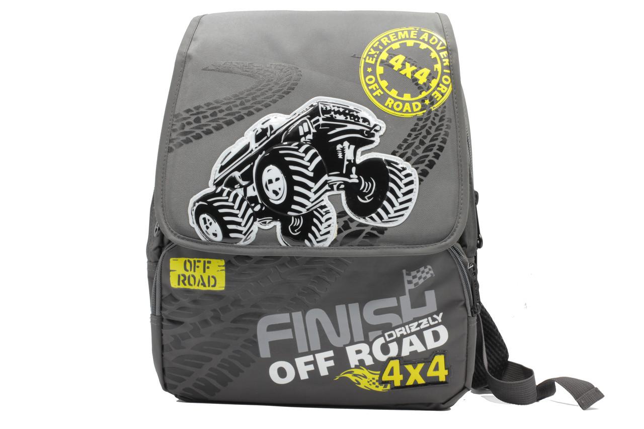 Школьный рюкзак для мальчиков средних классов из полиэстера серого цвета.