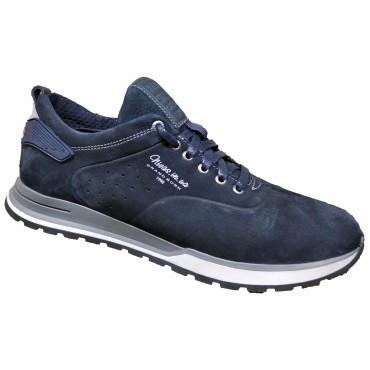Мужские кожаные кроссовки   40-45 синий нубук