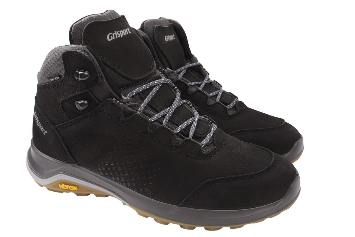 Ботинки мужские зимние из натурального нубука, черные, Gri Sport, Италия