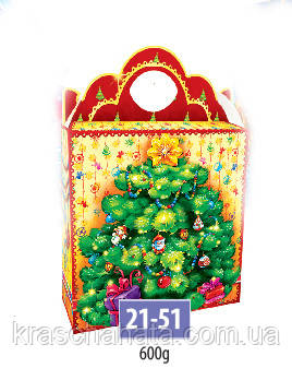 Новогодняя коробка, Елка, 600 гр, Картонная упаковка для конфет