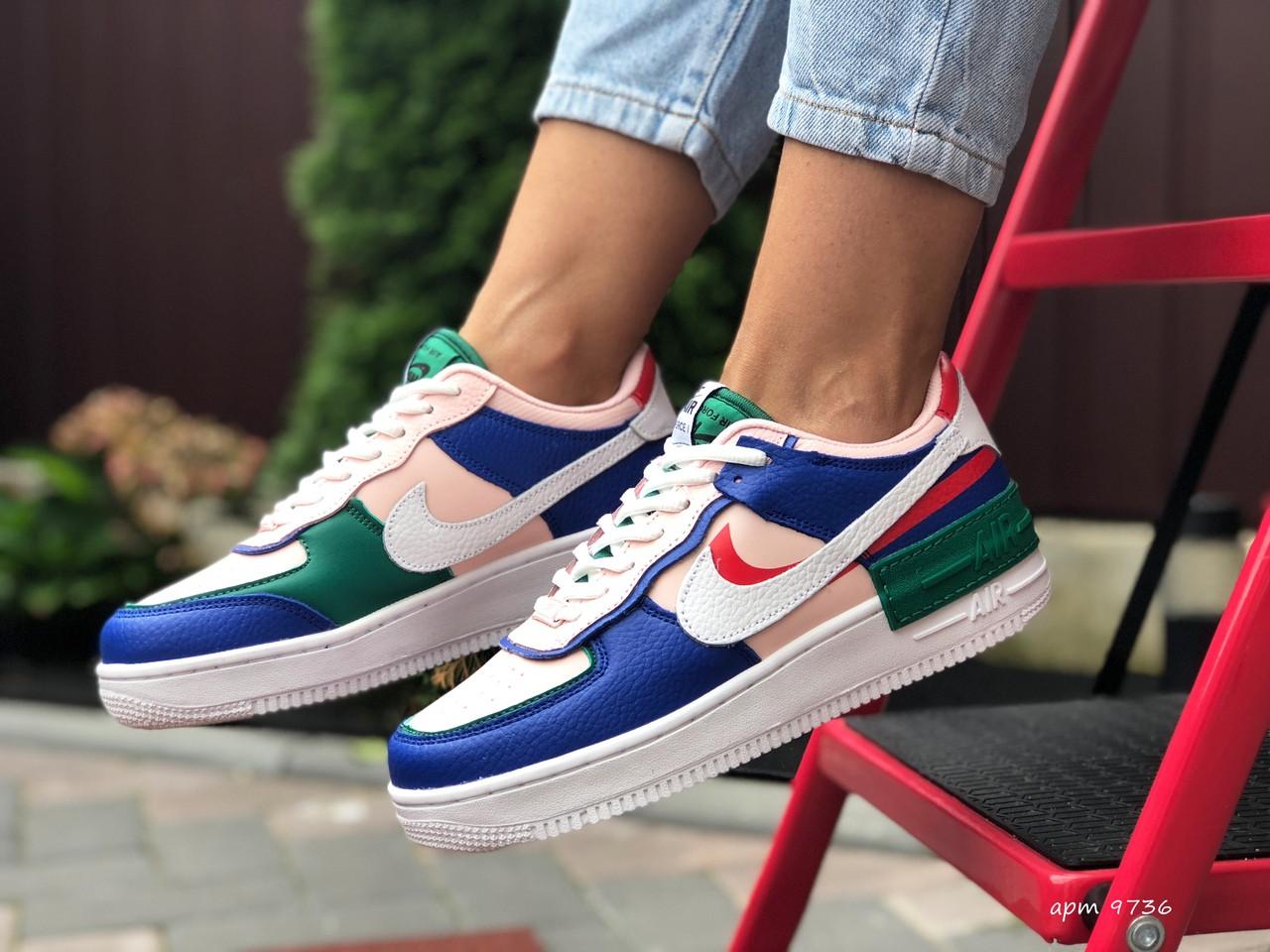 Nike Air женские розовые с синим/зеленые демисезонные кроссовки на шнурках