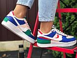 Nike Air женские розовые с синим/зеленые демисезонные кроссовки на шнурках, фото 3