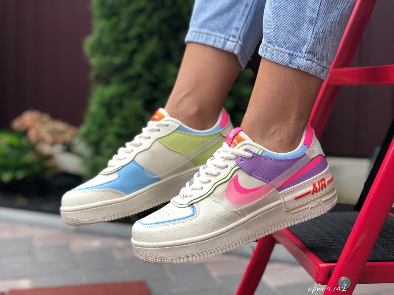 Nike Air женские бежевые с розовым/фиолетовые демисезонные кроссовки на шнурках