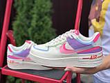 Nike Air женские бежевые с розовым/фиолетовые демисезонные кроссовки на шнурках, фото 2