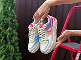 Nike Air женские бежевые с розовым/фиолетовые демисезонные кроссовки на шнурках, фото 3