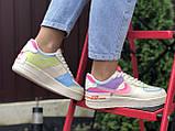 Nike Air женские бежевые с розовым/фиолетовые демисезонные кроссовки на шнурках, фото 4