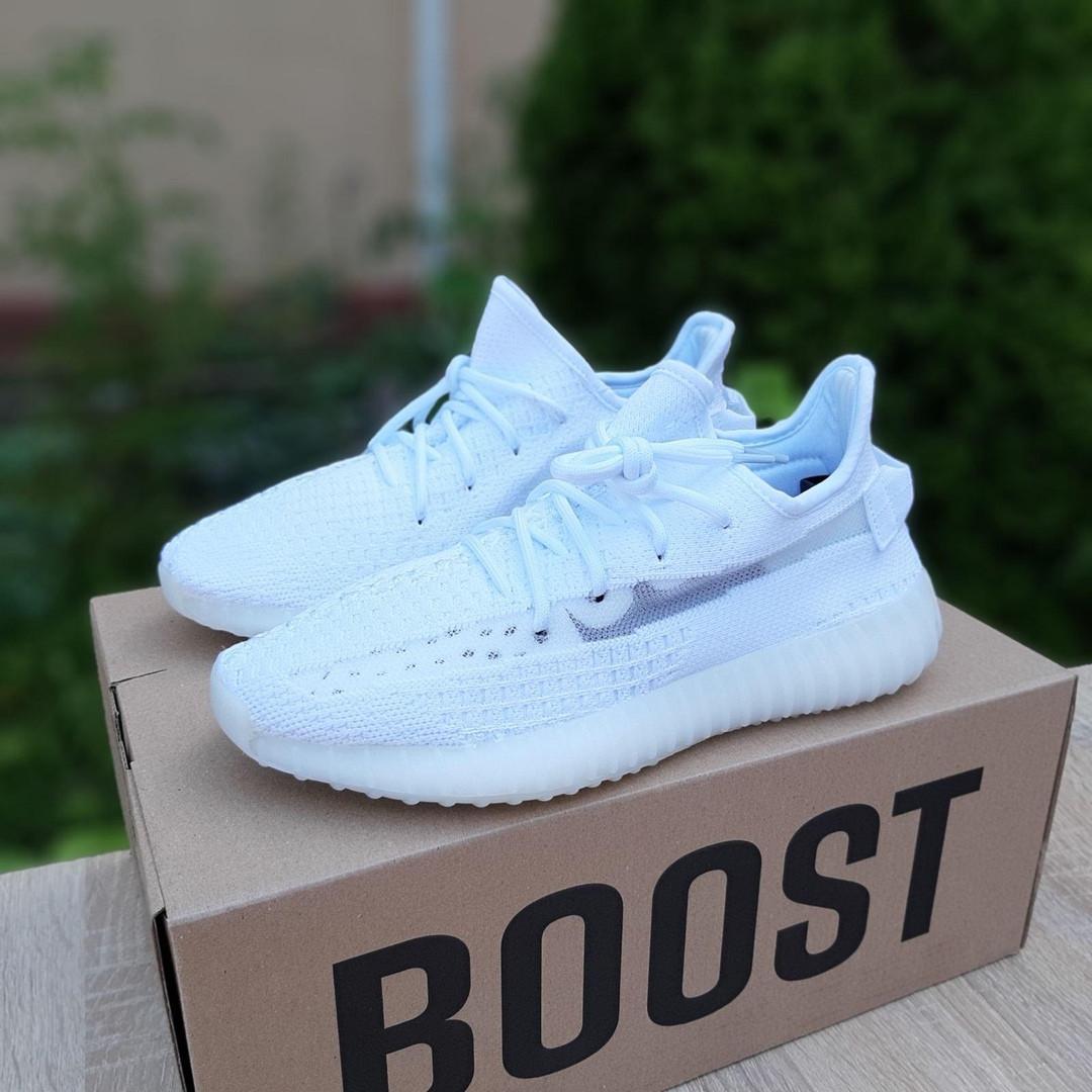Adidas Yeezy Boost 350 женские белые  демисезонные кроссовки на шнурках