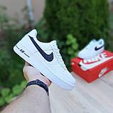 Nike Air Force 1 женские белые с черным демисезонные кроссовки на шнурках, фото 2