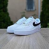 Nike Air Force 1 женские белые с черным демисезонные кроссовки на шнурках, фото 4
