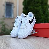 Nike Air Force 1 женские белые с черным демисезонные кроссовки на шнурках, фото 6