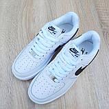 Nike Air Force 1 женские белые с черным демисезонные кроссовки на шнурках, фото 7